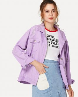 Ripped Drop Shoulder Casual Denim Jackets