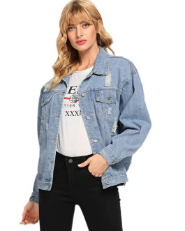 Ripped Single Breasted Drop Shoulder Casual Denim Jacket
