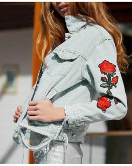 Rose Embroidery Floral  Long Sleeve Patchwork Denim Jeans Jacket