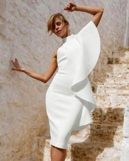 Ruffle Sleeveless Bodycon Clubwear Dress