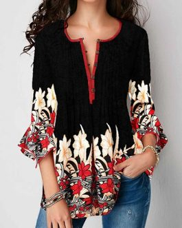 Ruffled Sleeves Casual Tunic