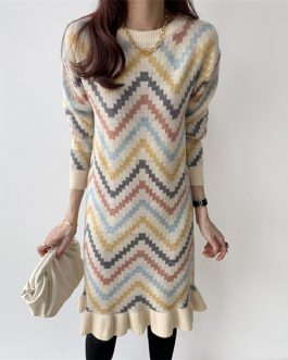 Ruffles Sweet Knitting Straight Warm Korean Style Casual Sweater Dress