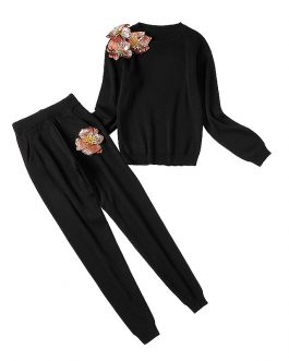 Sequined Flower Sweater And Pants Suits