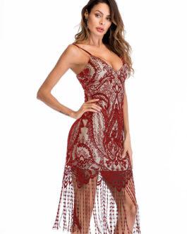Sexy Club Lace Fringe Bodycon Dress