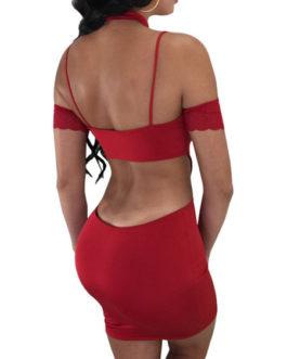 Sexy Crewneck Cut Out Bodycon Dress