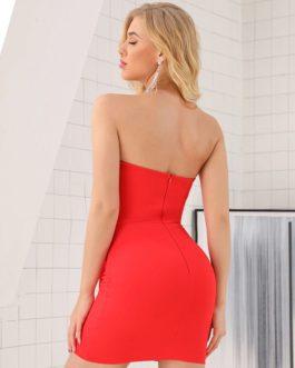 Sexy Strapless Club Wear Mini Dress