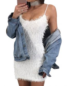 Sexy Straps Fringe Shaping Mini Dress