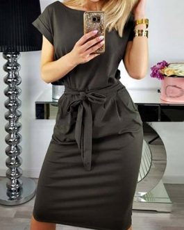 Short Cuffed Sleeves Midi Dress