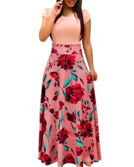 Short Sleeve Elegant Print Party Fashion Dress
