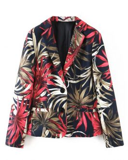 Single Button Floral Leafs Notched Vintage Blazer