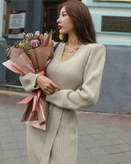 Skinny Knitting Sashes Warm Split Korean Style Casual Sweater Dress
