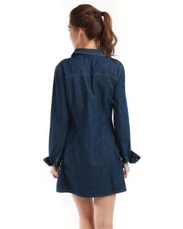 Slim Long Sleeve Cotton Washed Denim Fancy Shirt Dress