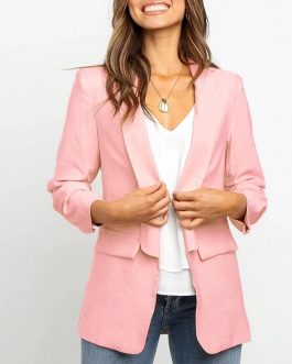 Solid Casual Turn Down Fashion Vintage Blazers