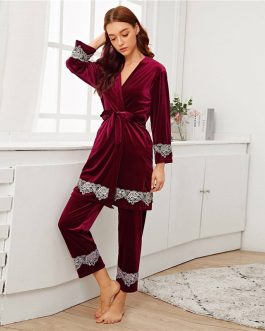 Solid Contrast Lace Casual Nightwear