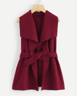 Solid Drape Collar Sleeveless Elegant Coat With Belt