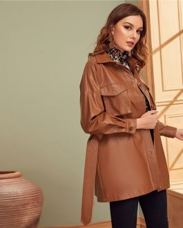 Faux Leather Belted Outwear Coats