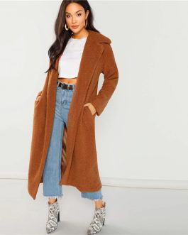 Solid Pocket Cardigan Long Faux Fur Teddy Warm  Coat