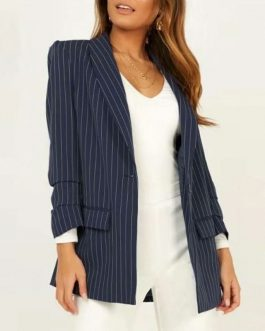 Stripe Office Lady High Fashion Blazer Coat