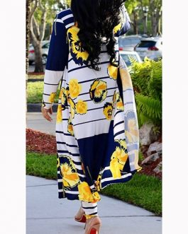 Stripe and Floral Duster Pants Set