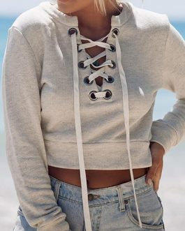 Sweat-Style Front Lace Crop Top
