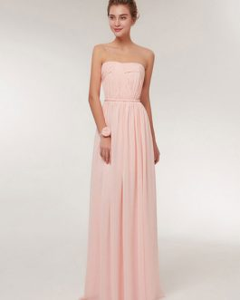 Sweetheart Strapless A Line Floor Length Chiffon Prom Bridesmaid Dress