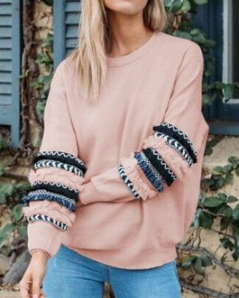 Thread Design Embellished Sleeves Multi Colored Sweatshirt