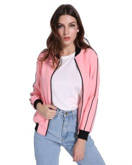 Threaded Sleeve Two Pockets Casual Jacket