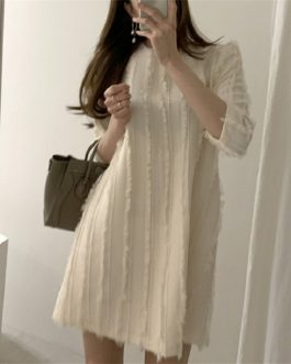 Three Quarter Korean Style Fashionable Elegant Mini Sweater Dress