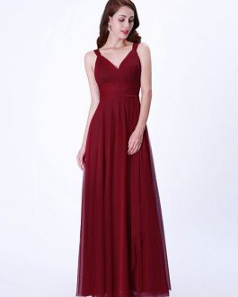 Tulle A Line V Neck Floor Length Wedding Party Prom Bridesmaid Dresses