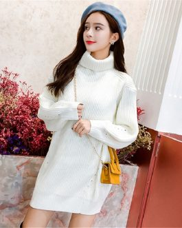 Turtleneck Minimalist Korean Style Loose Knitting Sweaters Dresses