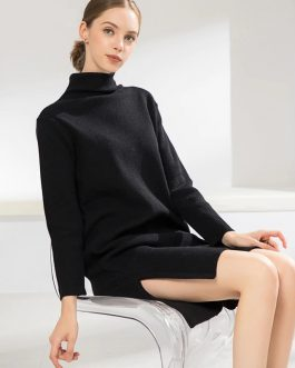 Turtleneck Slit Casual Straight Knitting Sweater Dresses