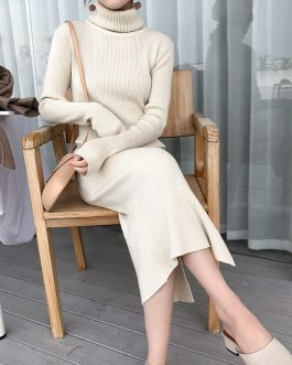 Turtleneck Split Knitted Thicken Straight Casual Sweater Dress