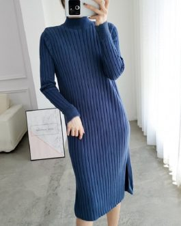Turtleneck Straight Casual Slim Office Long Sweater Dress