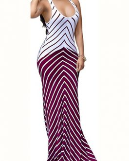 Two Tone Bold Stripe Design Long Dress