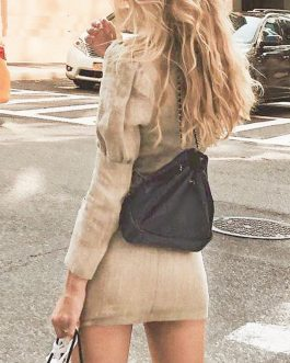 V Neck Button Slim Fashion Office Ladies Short Blazer Dress
