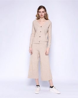 V Neck Knit Cardigan And Wide Leg Pants Leisure Outfits