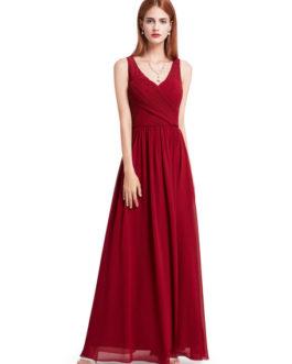 V Neck Long Prom Dresses Back Keyhole Ruched A Line Floor Length Wedding Guest Bridesmaid Dresses