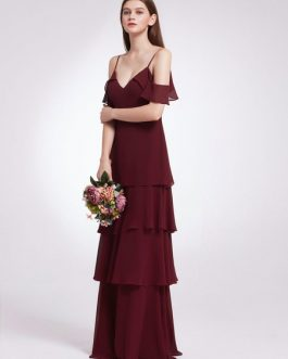 V Neck Straps A Line Floor Length Zipper Chiffon Prom Multilayer Wedding Party Bridesmaid Dresses