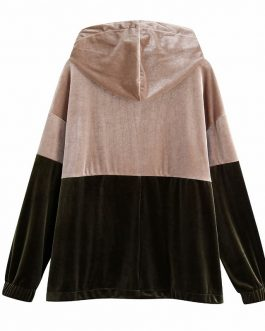Velvet Two Tone Colored Hooded Sport Sweatshirt