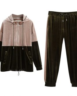 Velvet Two Tone Hooded And Elastic Waist Pants Tracksuit