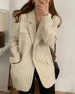 Vintage Chic Plaid Elegant Notched Collar Loose Blazers