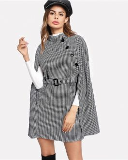 Vintage Plaid Self Belted Houndstooth Cloak Sleeve Cape Wool Blend Coat