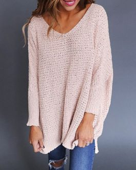 Wide V Neck Over-Sized Sweater