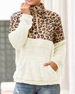 Zip Collar Leopard Solid Sweatshirt