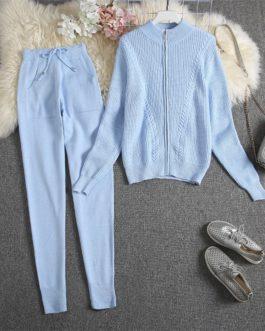 Zipper Cardigan Pants Knitting Suit
