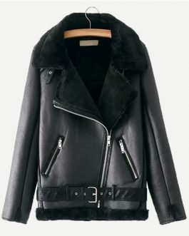 Zipper Pocket Biker Belted Faux Fur PU Leather Street wear Warm Jacket