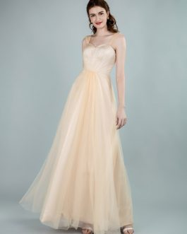 A Line Strapless Floor Length Zipper Tulle Formal Gowns Bridesmaid Dress