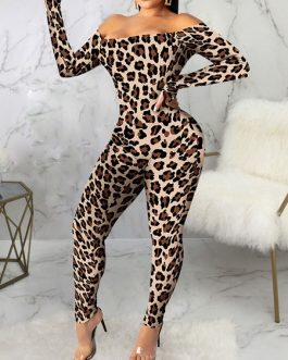 Animal Print Bateau Neck Long Sleeves Stretch Polyester Skinny Playsuit