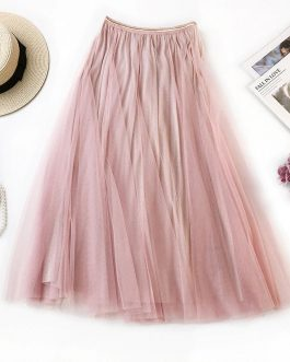 Ankle Length High Waist Pleated Midi Skirt