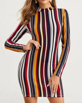 Bodycon Dresses Stripes High Collar Long Sleeves Pencil Dress